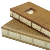 Wood coptic bindings for notebooks